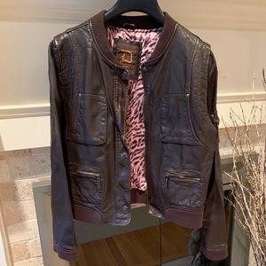 Vegan Brown Leather Moto Dollhouse Jacket XL